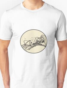 Date Fruit Tied Rail Track Train Coming Oval Unisex T-Shirt