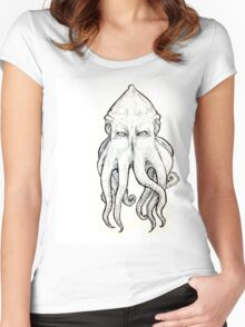 Elder God tentacled face Women's Fitted Scoop T-Shirt