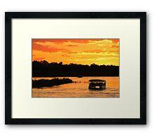 Zambezi river sunset cruise Framed Print