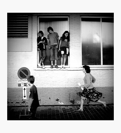 girls watch girls boys watch boys passing by Photographic Print
