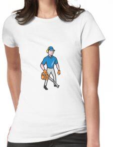 Gardener Landscaper Leaf Blower Cartoon Womens Fitted T-Shirt