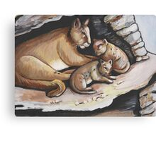 Mountain Lion And Cubs Canvas Print