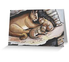 Mountain Lion And Cubs Greeting Card
