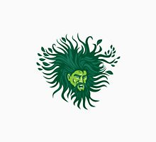 Green Man Head Hair Flowing Leaves Cartoon Unisex T-Shirt
