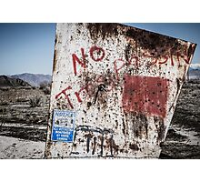 No Trespassin' Photographic Print
