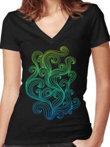 Rainbow Swirls  Women's Fitted V-Neck T-Shirt