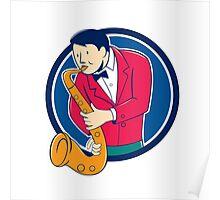 Musician Playing Saxophone Circle Cartoon Poster