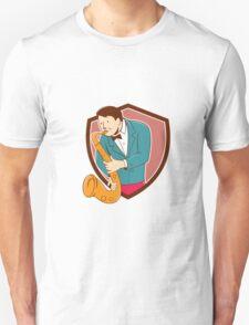 Musician Playing Saxophone Shield Cartoon T-Shirt