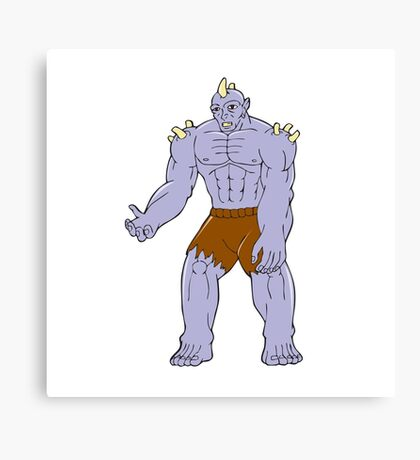 Goblin Monster Horn Cartoon Canvas Print