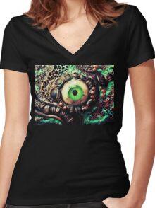 Copper biomech eye Women's Fitted V-Neck T-Shirt