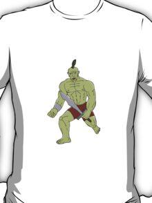 Orc Warrior Wielding Sword Running Cartoon T-Shirt