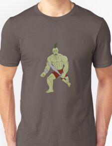 Orc Warrior Wielding Sword Running Cartoon Unisex T-Shirt