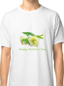Lovely white peony flowers Happy Mother's Day photo art. Classic T-Shirt