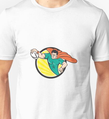 Superhero Rugby Player Scoring Try Circle Unisex T-Shirt