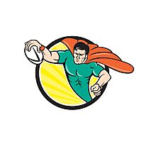 Superhero Rugby Player Scoring Try Circle Photographic Print