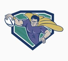 Superhero Rugby Player Scoring Try Crest T-Shirt