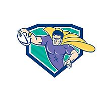 Superhero Rugby Player Scoring Try Crest Photographic Print
