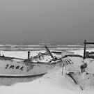 Boat Wrecks In Snow by Heath Carney