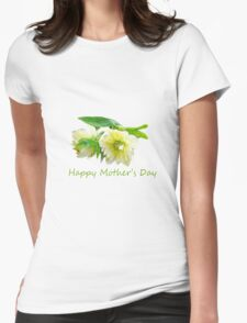 Lovely white peony flowers Happy Mother's Day photo art. Womens Fitted T-Shirt