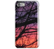 sunset trees silhouette pink iPhone Case/Skin