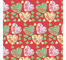 Retro hearts pattern Photographic Print