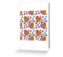 Retro hearts pattern Greeting Card