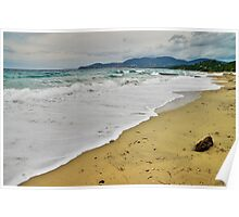 Waves and clouds over Gigaro beach Poster