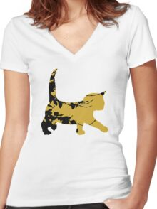 Shadow Creeping Kitten Women's Fitted V-Neck T-Shirt