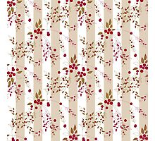 Seamless pattern red wild berries branch texture striped Photographic Print