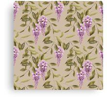 Seamless floral retro pattern flowers ornament wallpaper textile Illustration glicinia Canvas Print