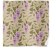 Seamless floral retro pattern flowers ornament wallpaper textile Illustration glicinia Poster