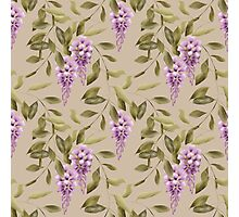 Seamless floral retro pattern flowers ornament wallpaper textile Illustration glicinia Photographic Print