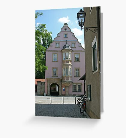 Street in old town of Bairoit.Germany Greeting Card