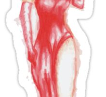 the woman in red.........ink Sticker