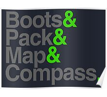 Boots & Pack & Map & Compass. Poster