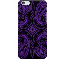 Black and Purple Floral Paisley Pattern iPhone Case/Skin