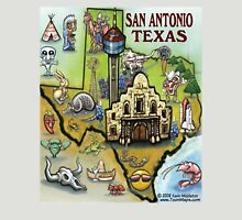 San Antonio Texas Cartoon Map Unisex T-Shirt
