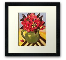 Red Gum Blossoms in a Green Jug Framed Print