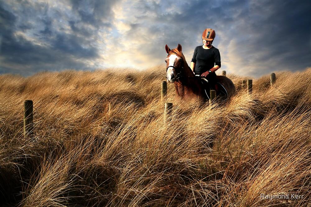 """Riding through a sea of grass"" by Raymond Kerr"