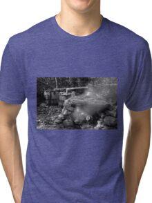 Moonshine Still in Black and White Tri-blend T-Shirt