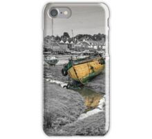 Abersoch inner harbour black and white with coloured boats iPhone Case/Skin
