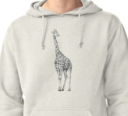 Giraffe biro drawing Pullover Hoodie