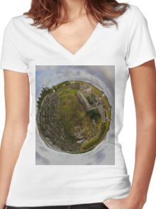 Ruins at Cashelnagor, County Donegal, Ireland Women's Fitted V-Neck T-Shirt