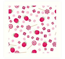 Raspberry lollipops, candy and chewing gum seamless pattern background Art Print