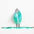 Bird says 'tweet' - Green fused glass by Sandra O'Connor