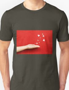 Blowing Hearts from a Hand T-Shirt