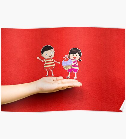 boy and girl with cupcake on a hand Poster