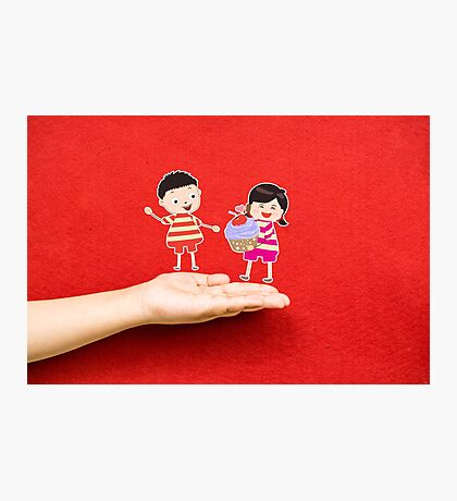 boy and girl with cupcake on a hand Photographic Print