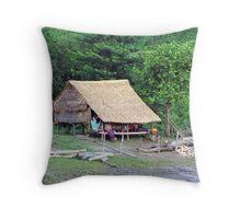 Typical Burmese farm house Throw Pillow