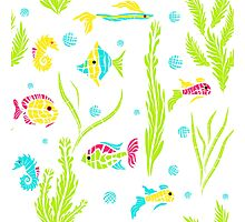 Seamless kids ocean fish illustration pattern Photographic Print